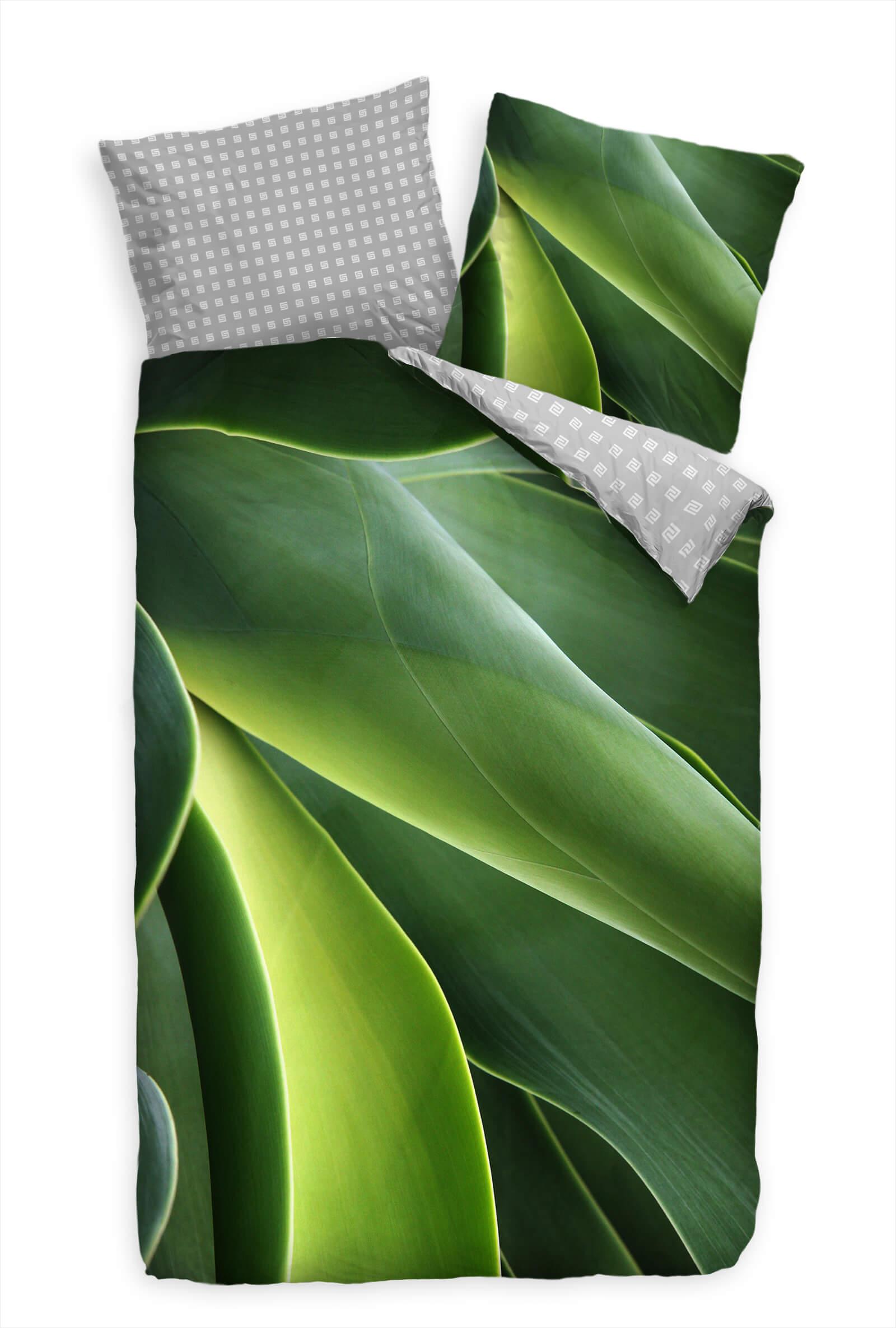 Abstrakt Kaktus Makro Grn  Bettwäsche Set 135x200 cm + 80x80cm  Atmungsaktiv
