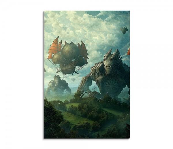 Medieval Airship Monster Fantasy Art 90x60cm