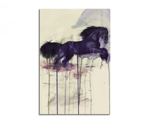 Black Horse 90x60cm  Aquarell Art Leinwandbild