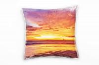 Strand und Meer, orange, Sonnenuntergang Deko Kissen 40x40cm für Couch Sofa Lounge Zierkissen