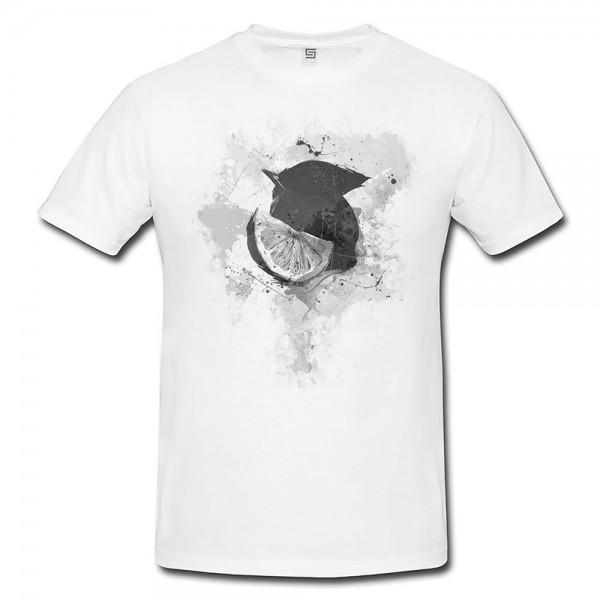 Zitrone Herren und Damen T-Shirt BLACK-WHITE