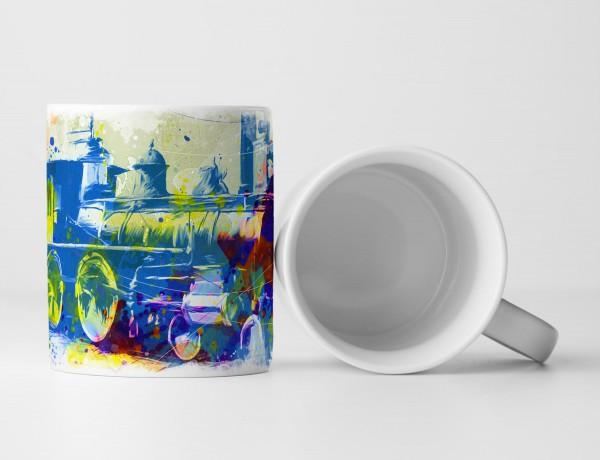 Alte Lokomotive Tasse als Geschenk, Design Sinus Art
