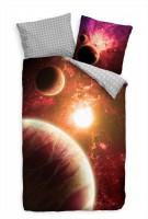 Mond Rot Planet Galaxie Sonne Bettwäsche Set 135x200 cm + 80x80cm  Atmungsaktiv