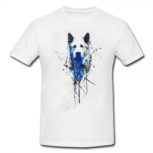 Shirt Schäferhund Motiv Schwarz Weiß Grau t shirt damen Hund sheep dog Damen T