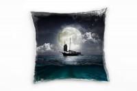 Meer, Abstrakt, schwarz, weiß, türkis, Piratenschiff, Mond Deko Kissen 40x40cm für Couch Sofa Lounge