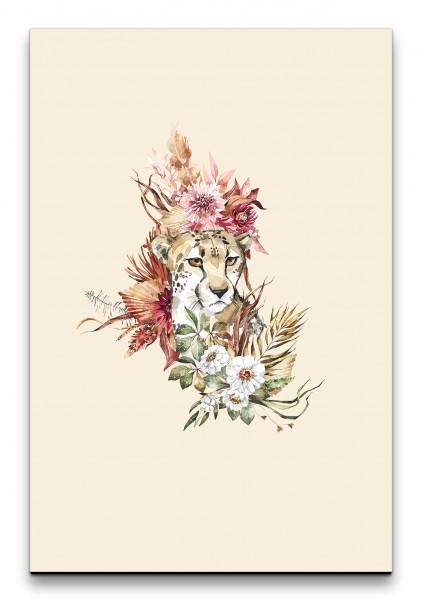 Gepard Afrika Savanne Blumen Blüten Modern Wasserfarben Kunstvoll