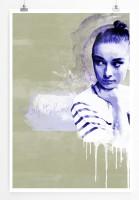Audrey Hepburn 90x60cm Paul Sinus Art Splash Art Wandbild als Poster ohne Rahmen gerollt