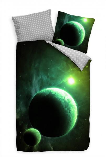 Grn Planet Weltall Abstrakt Bettwäsche Set 135x200 cm + 80x80cm Atmungsaktiv