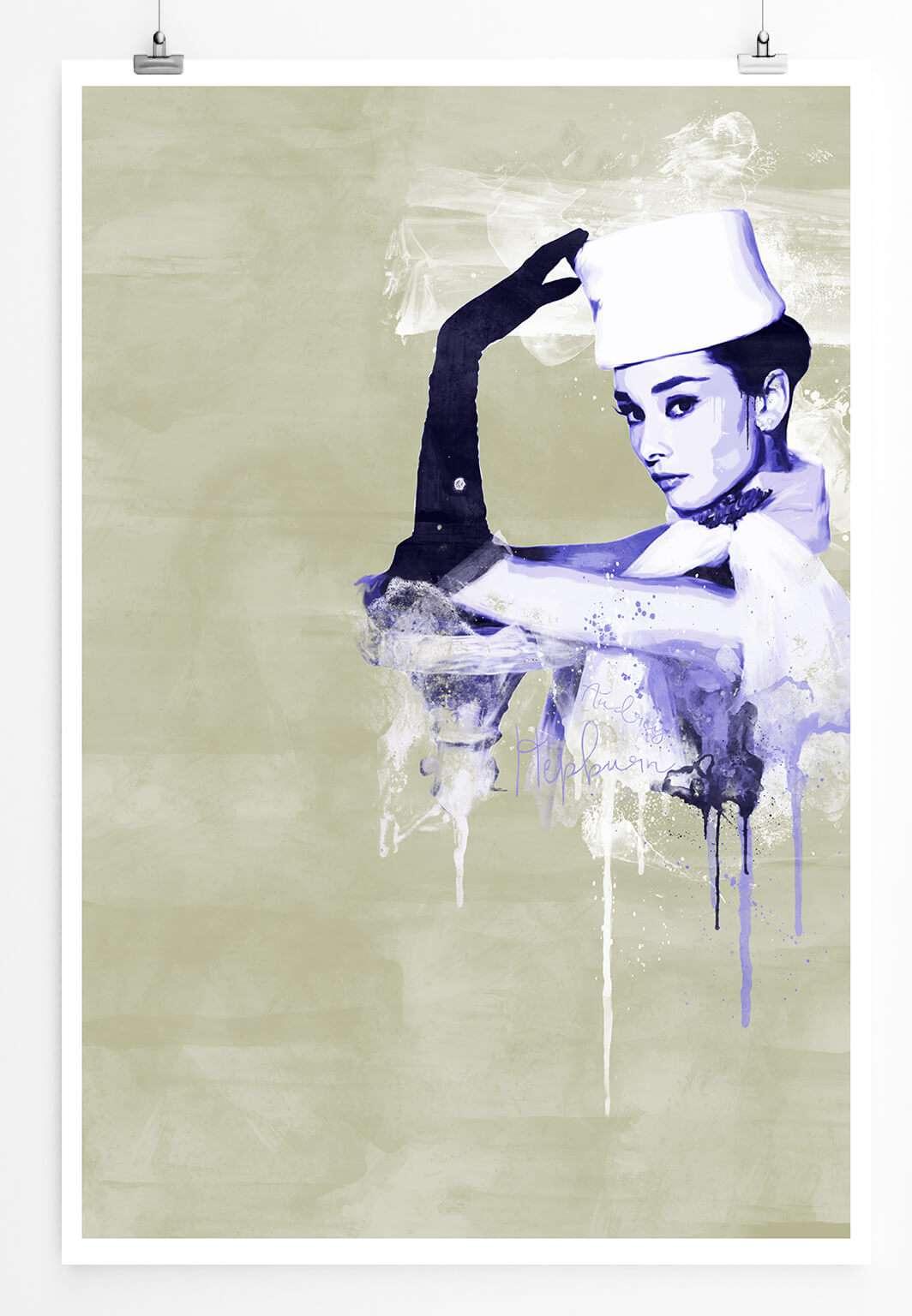 Audrey Hepburn Ii 90x60cm Paul Sinus Art Splash Art Wandbild Als
