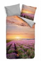 Lavendel Feld Sonnenuntergang Rot Bettwäsche Set 135x200 cm + 80x80cm  Atmungsaktiv