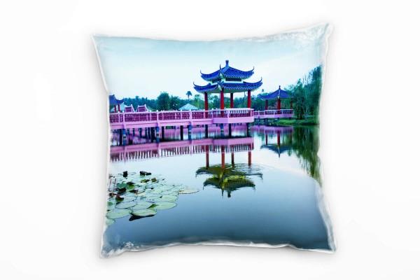 Urban Rosa Blau Grun Pavillon Asien Deko Kissen 40x40cm Fur
