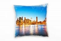 Urban und City, gelb, blau, Manhattan, New York Deko Kissen 40x40cm für Couch Sofa Lounge Zierkissen