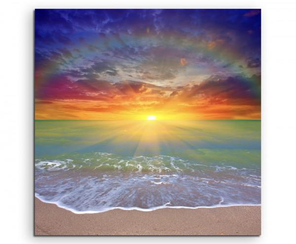 Naturfotografie –  Sonnenaufgang am Strand mit Iris auf Leinwand