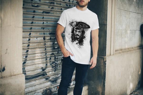 Jack Sparrow Herren und Damen T-Shirt BLACK-WHITE