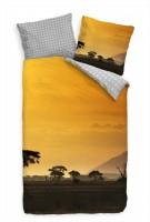 Safari Sonnenaufgang Orange Bettwäsche Set 135x200 cm + 80x80cm  Atmungsaktiv