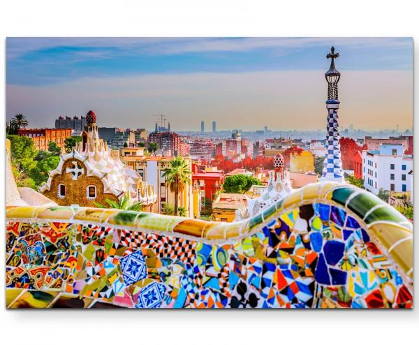 Bunte Mauer in Barcelona - Leinwandbild
