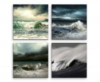 4 teiliges Leinwandbild je 30x30cm  -  Unwetter Meer Wellen Sturm