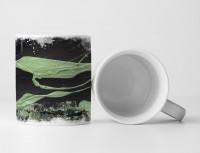 Tasse Geschenk schwarze Grundierung, mintgrünen Farbstreifen