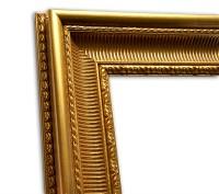 Exklusiver Echtholzrahmen gold glänzend elegant Stuck