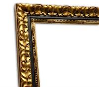 Exklusiver Echtholzrahmen klassisch in gold mit schwarzer Kante