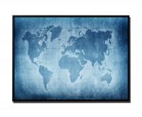 105x75cm Leinwandbild Petrol Weltkarte