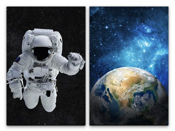 2 Bilder je 60x90cm Astronaut Erde Planet Sterne Weltraum Majestätisch Schwerelos
