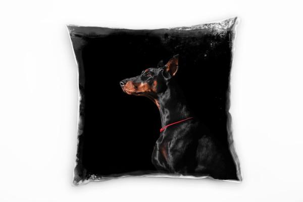Tiere, Hund, Dobermann, Portrait, schwarz, braun Deko Kissen 40x40cm für Couch Sofa Lounge Zierkisse