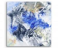Papageienkopf in Grautönen mit Kalligraphie