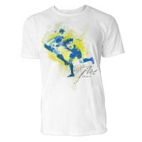 Fußball Aufprall  Sinus Art ® T-Shirt Crewneck Tee with Frontartwork