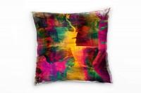 Abstrakt, pink, grün, orange, gemalt Deko Kissen 40x40cm für Couch Sofa Lounge Zierkissen