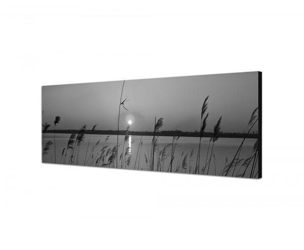 150x50cm Fluss Gräser Sonnenuntergang Himmel