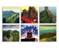 6 teiliges Leinwandbild je 30x30cm -  China Landschaft Gebirge