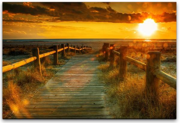Sonnenaufgang mit Meer und Steg Wandbild in verschiedenen Größen