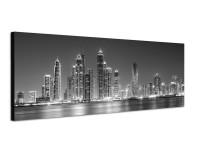 150x50cm Dubai Skyline Wasser Nacht Lichter