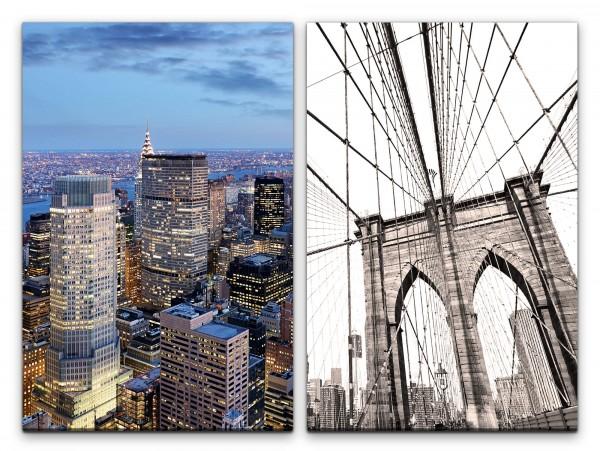 2 Bilder je 60x90cm Brooklyn Bridge New York USA Wolkenkratzer Architektur Großstadt Skyline
