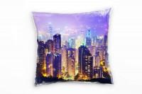 City, lila, gelb, Hongkong, Nacht, Hochhäuser, Lichter Deko Kissen 40x40cm für Couch Sofa Lounge Zie