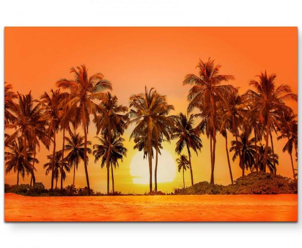 Palmen im Sonnenuntergang, Sri Lanka - Leinwandbild