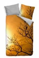 """V""""gel Sonnenaufgang Baum Orange Bettwäsche Set 135x200 cm + 80x80cm  Atmungsaktiv"""