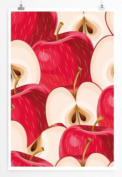 60x90cm Poster Bild – Rote aufgeschnittene Äpfel