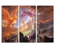 Phoenix Dragon And The Snake Fantasy Art 3x90x40cm