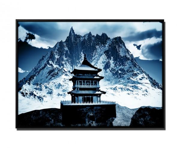 105x75cm Leinwandbild Petrol Buddhistischer Tempel in den Bergen I