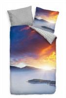 Berg Panorama Nebel Blau Rot Bettwäsche Set 135x200 cm + 80x80cm  Atmungsaktiv