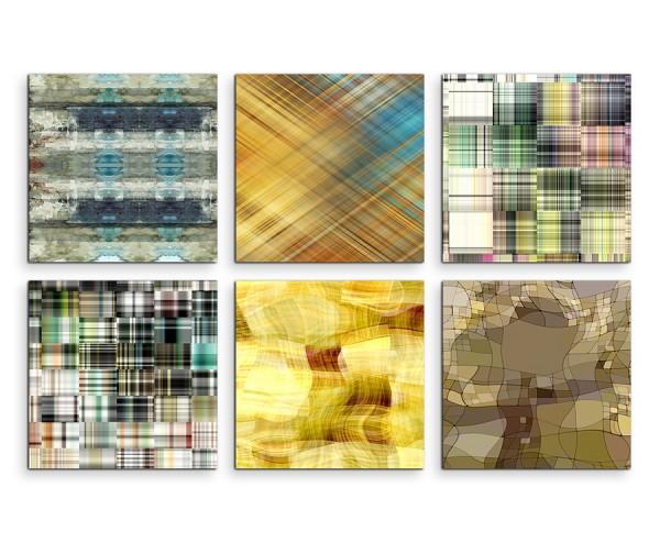 6 teiliges Leinwandbild je 30x30cm -  Abstrakt Muster Mehrfarbig Expressiv