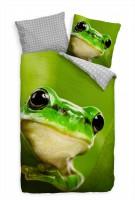 Frosch Grn Tierwelt  Bettwäsche Set 135x200 cm + 80x80cm  Atmungsaktiv