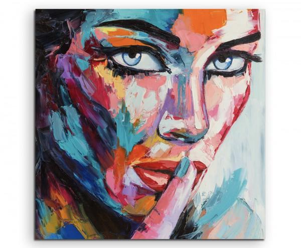Buntes modernes Ölgemälde – Frau mit blauen Augen auf Leinwand exklusives Wandbild moderne Fotografi