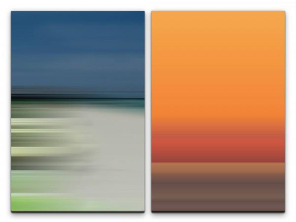 2 Bilder je 60x90cm Minimal Horizont Orange Pastelltöne Modern Abstrakt Stille