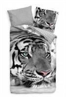 Tiger Gesicht Nahaufnahme Weiss Bettwäsche Set 135x200 cm + 80x80cm  Atmungsaktiv