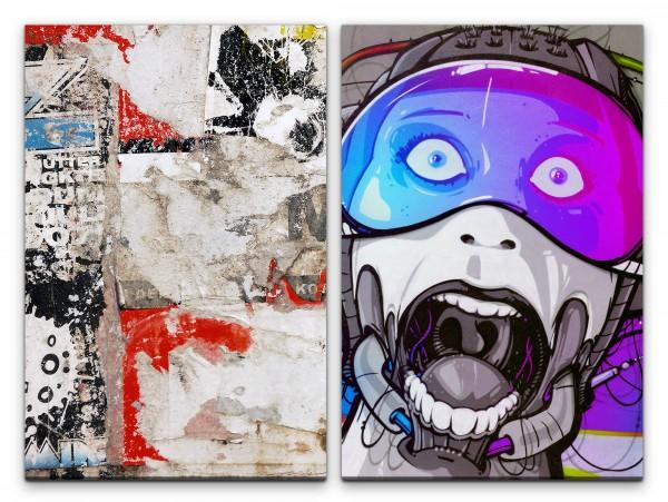 2 Bilder je 60x90cm Cyborg Graffiti Wand Street Art New York Grungy Jugendzimmer