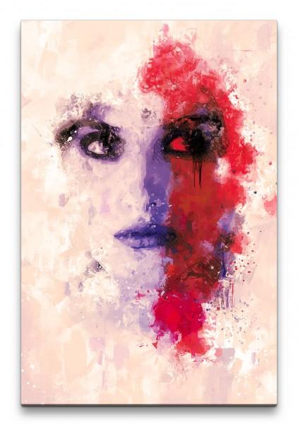 Penélope Cruz Porträt Abstrakt Kunst Schauspielerin rote Farbe 60x90cm Leinwandbild