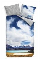 Nationpark Argentinien Blau See Berge Bettwäsche Set 135x200 cm + 80x80cm  Atmungsaktiv